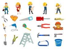 Grupo do trabalhador da construção ilustração stock