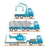 Grupo do transporte dos desenhos animados Caminhão de reboque, carro de tanque, caminhão, helicóptero Ilustração do vetor Imagens de Stock Royalty Free