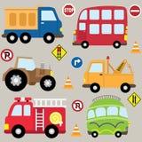 Grupo do transporte dos veículos dos desenhos animados ilustração royalty free