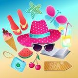 Grupo do verão Coleção do vetor com elementos das férias de verão ilustração do vetor