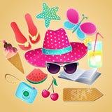 Grupo do verão Coleção do vetor com elementos das férias de verão ilustração stock