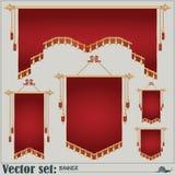 Grupo do vetor bandeiras de formas e de tamanhos diferentes Fotografia de Stock Royalty Free