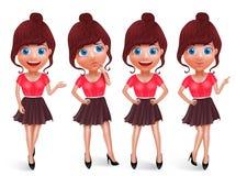 Grupo do vetor do caráter da menina da forma Jovem mulher com o equipamento elegante na postura diferente ilustração royalty free