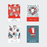 Grupo do vetor com os cartões de Natal verticais decorados com elementos e detalhes tirados mão Fotografia de Stock