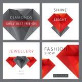 Grupo do vetor 3d dos cristais vermelhos e pretos, diamantes ilustração do vetor