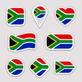 Grupo do vetor da bandeira de África do Sul Sul - coleção africana das etiquetas das bandeiras Ícones geométricos isolados Nacion ilustração do vetor