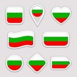 Grupo do vetor da bandeira de Bulgária Coleção búlgara das etiquetas das bandeiras nacionais Ícones geométricos isolados vetor We ilustração do vetor