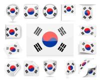 Grupo do vetor da bandeira de Coreia do Sul Fotografia de Stock Royalty Free