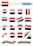 Grupo do vetor da bandeira de Iémen Fotos de Stock Royalty Free