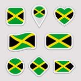 Grupo do vetor da bandeira de Jamaica Coleção jamaicana das etiquetas das bandeiras nacionais Ícones geométricos isolados Web, pá ilustração do vetor