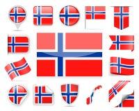 Grupo do vetor da bandeira de Noruega Imagem de Stock
