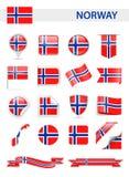 Grupo do vetor da bandeira de Noruega Foto de Stock Royalty Free