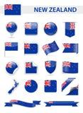 Grupo do vetor da bandeira de Nova Zelândia Foto de Stock Royalty Free