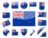 Grupo do vetor da bandeira de Nova Zelândia Foto de Stock