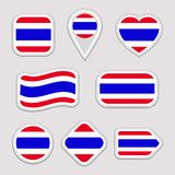 Grupo do vetor da bandeira de Tailândia Coleção tailandesa das etiquetas das bandeiras nacionais Ícones geométricos isolados veto ilustração stock