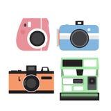 Grupo do vetor da câmera, projeto liso Imagens de Stock