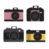 Grupo do vetor da câmera, projeto liso Foto de Stock Royalty Free