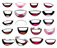 Grupo do vetor da coleção das bocas dos desenhos animados Fotos de Stock