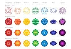 Grupo do vetor da cor dos símbolos de Chakras fotografia de stock royalty free