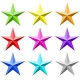 Grupo do vetor da estrela da cor Fotos de Stock Royalty Free