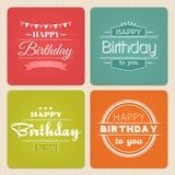 Grupo do vetor da etiqueta da tipografia do feliz aniversario Foto de Stock Royalty Free
