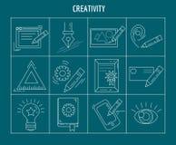 Grupo do vetor da faculdade criadora e do projeto de ícones lineares Imagem de Stock