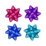 Grupo do vetor da luz cor-de-rosa escura magenta roxa brilhante - Azure Gift Ribbon Bows Close azul acima no fundo branco Imagem de Stock Royalty Free