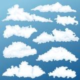 Grupo do vetor da nuvem dos desenhos animados Nuvens em um fundo do alvorecer Foto de Stock Royalty Free