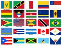 Grupo do vetor das bandeiras do continente de América Fotografia de Stock