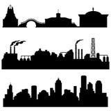 Grupo do vetor das construções das silhuetas da cidade - culturais, as industriais e as urbanas Imagens de Stock Royalty Free