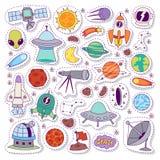 Grupo do vetor das etiquetas dos ícones da astronomia do sistema solar ilustração stock