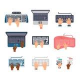 Grupo do vetor das mãos do teclado Imagens de Stock Royalty Free
