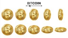 Grupo do vetor das moedas de ouro de Bitcoin 3D realístico Flip Different Angles Dinheiro da moeda de Digitas Moeda da finança da Ilustração Stock