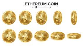 Grupo do vetor das moedas de ouro da moeda 3D de Ethereum realístico Flip Different Angles Dinheiro da moeda de Digitas Conceito  Ilustração Royalty Free