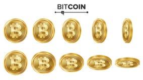 Grupo do vetor das moedas de ouro de Bitcoin 3D realístico Flip Different Angles Dinheiro da moeda de Digitas Conceito do investi Ilustração do Vetor