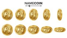 Grupo do vetor das moedas de ouro de Namecoin 3D realístico Flip Different Angles Dinheiro da moeda de Digitas Conceito do invest Ilustração Stock