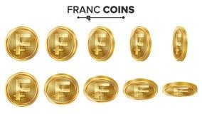 Grupo do vetor das moedas de ouro do franco 3D Ilustração realística Flip Different Angles Dinheiro Front Side Conceito do invest Ilustração Royalty Free
