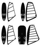 Grupo do vetor das placas e das velas do windsurfe Fotografia de Stock