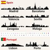 Grupo do vetor das silhuetas das skylines das cidades as maiores da Espanha e do Portugal ilustração royalty free
