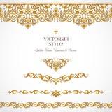 Grupo do vetor das vinhetas, beiras no estilo vitoriano Imagem de Stock Royalty Free