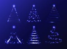 Grupo do vetor de árvores de Natal abstratas Fotografia de Stock Royalty Free
