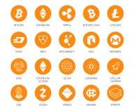 Grupo do vetor de ícones de Cryptocurrency Cubra 20 sinais relativos ao bitcoin e baseados no technologie do blockchain cripto Fotos de Stock