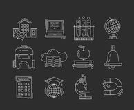 Grupo do vetor de ícones da educação Fotografia de Stock Royalty Free