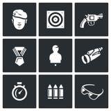 Grupo do vetor de ícones da escala de tiro Soldado, tiro, arma, concessão, manequim, observação, velocidade, arsenal, segurança ilustração do vetor