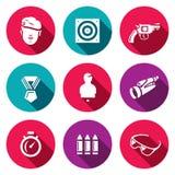 Grupo do vetor de ícones da escala de tiro Soldado, tiro, arma, concessão, manequim, observação, velocidade, arsenal, segurança ilustração stock