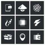 Grupo do vetor de ícones da indústria eletrônica Smartphone, asiático, Nucleu e elétron, fabricação, processador, carga, bloco Imagens de Stock