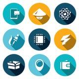 Grupo do vetor de ícones da indústria eletrônica Smartphone, asiático, Nucleu e elétron, fabricação, processador, carga, bloco Fotografia de Stock Royalty Free