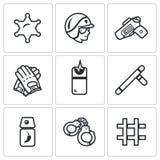 Grupo do vetor de ícones da polícia O xerife, lei, arma, munição, neutralização, pacificação, suprime, prende, detenção ilustração royalty free