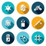 Grupo do vetor de ícones da polícia O xerife, lei, arma, munição, neutralização, pacificação, suprime, prende, detenção ilustração do vetor