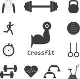 Grupo do vetor de ícones de Crossfit Esporte, aptidão, exercício do gym Fotografia de Stock